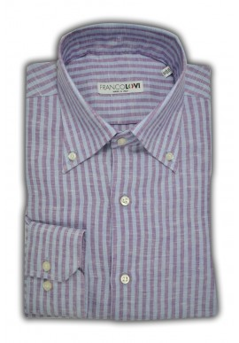 Camicia Uomo Lino Rigata Celeste e Viola Collo Botton Down