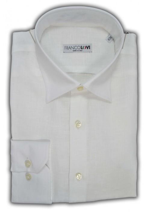 Camicia Uomo Lino Bianca Collo Italiano