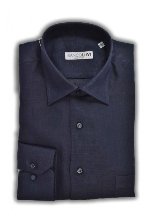 Camicia Uomo Lino Blue Collo Italiano