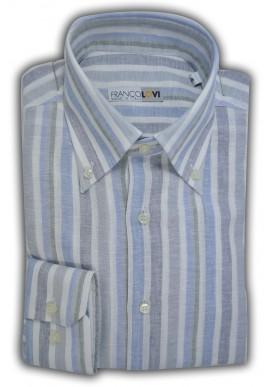 Camicia Uomo Misto Lino Rigata Multicolor Azzurro Grigio