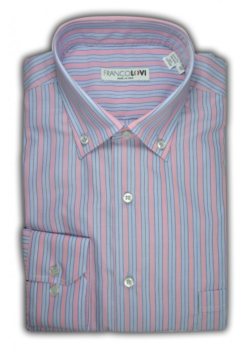 Camicia Uomo Collo Botton Down Rigato Multicolor Celeste Rosa
