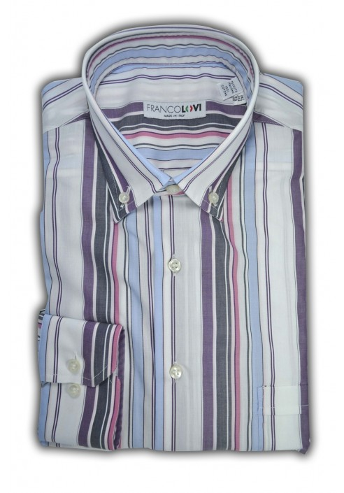 Camicia Uomo Rigato Multicolor Collo Botton Down