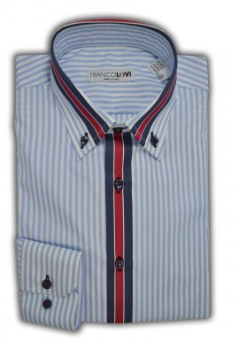 Camicia Uomo Riga Celeste Cannolo in contrasto Collo Botton Down