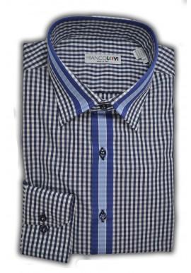 Camicia Uomo Quadretto Blue Cannolo in Contrasto Collo Italiano
