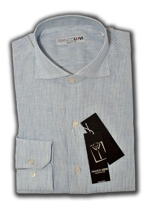 Camicia Uomo 100% Lino Millerighe Celeste Collo Italiano