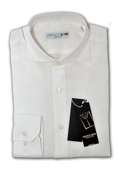 online retailer 98633 4cf35 Camicia Uomo 100% Lino Bianca Collo Francese Slim Fit ...