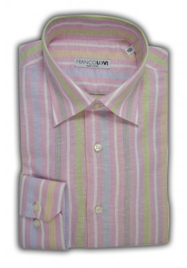 Camicia Uomo Misto Lino Rosa Rigata Multicolor