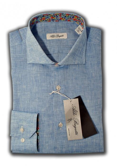 new product d6514 a5e90 Camicia Uomo Slim Bianca con Contrasti Blue