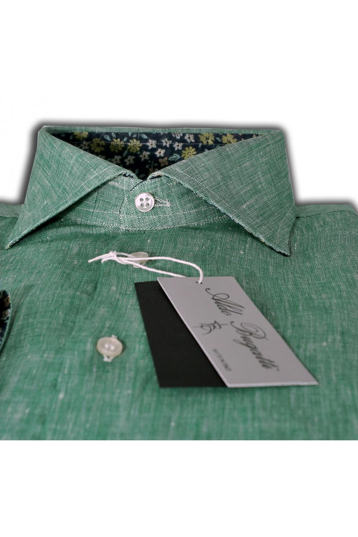wholesale dealer df83a cb06d Camicia Uomo Lino Verde con contrasti fantasia Slim Fit ...